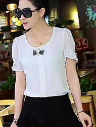 Women's Pink/White/Yellow Blouse , Round Neck Short Sleeve