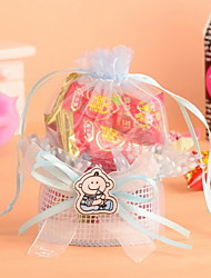 Pink and Blue Cartoon Baby Design Organza Candy Favor Gift Bag For Baby Shower Set of 12