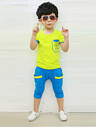 Boy's Cotton Fashion Leisure Pocket Short Sleeve Clothing Set