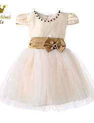 Girl Champagne Satin Tulle Soutache With Bow Princess Dress