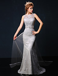 Formal Evening Dress - Silver Petite Trumpet/Mermaid Jewel Court Train Lace / Tulle
