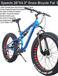 "24 Speeds 26""x17""x4.0"" Fat Tire Snow Bike GK™ Fat Bicicleta Mountain Bike26 Suspension Fork Aluminium Alloy Frame"