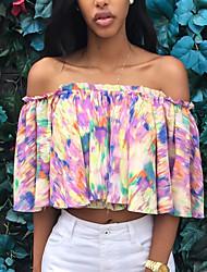 Tee-shirt Aux femmes Plissé ½ Manches Bateau Polyester