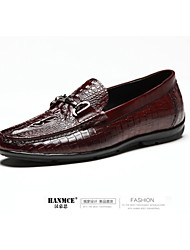 Men's Shoes Casual Leather Loafers Black/Red