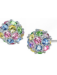 HKTC Elegant Colourful Crystal Ball Stud Earrings 18k White Gold Plated Cz Diamond Party Jewelry