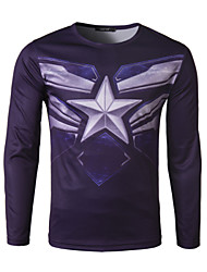 Men's Casual/Sport Print Long Sleeve Regular T-Shirt