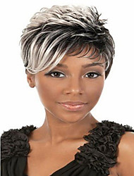 African American Wigs Peruca Preta Rubias Perucas Synthetic Ombre Hair Afro Wig With Grey For Black Women Short Hair