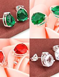 mousseux ami cadeau feu vert quartz rouge topaze précieuses argent 925 boucles d'oreille de noce quotidiennes 1pairs de vacances