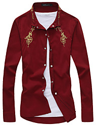 Men's Fashion Gold Embroidery Slim Long Sleeved Shirt