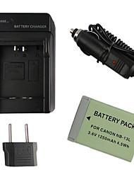 13L 1250mAh Camera Battery + EU Plug + Car Charger  for Canon PowerShot G7 X
