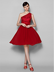 Lanting Knee-length Lace Bridesmaid Dress - Burgundy Plus Sizes / Petite A-line One Shoulder