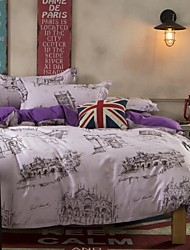 Mingjie City Style White and Purple Sanding Bedding Sets 4pcs Duvet Cover Sets Bed Linen China Queen Size and Full Size