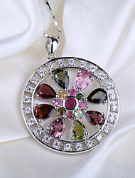 Natural Brazil Tourmaline Round Flower Pendant S925 Sterling Silver Seeds Chain Necklace