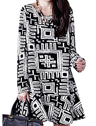 Lady Fall Women Cusual Flounced Skirt Long Sleeve Printed Dress Clothes