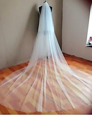 Véus de Noiva Duas Camadas Véu Catedral Corte da borda Tule Branco / Marfim
