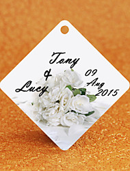 Personalized Rhombus Wedding Favor Tags - Bridal Bouquet Design (Set of 36)