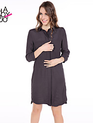 haoduoyi® Women's Commuting Three Quarter Sleeve Loose Shirt Dress