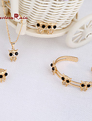 WesternRain Black Zircon Pendant Accessories  For Necklaces Gold Plated Baby Bracelet Children Jewelry Gift For Kids