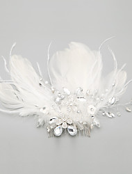 Women's Flower Girl's Feather Alloy Headpiece-Wedding Special Occasion Hair Combs 1 Piece