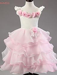 Girl's Summer/Spring/Fall Micro-elastic Medium Sleeveless Dresses (Acrylic/Cotton/Mesh/Polyester/Satin)