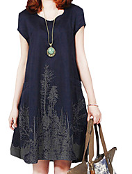 Lady Summer Women Cusual Loose Round Neck Printed Dress Clothes