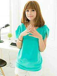 Женский Женский Блуза V-образный вырез , С короткими рукавами , Шифон