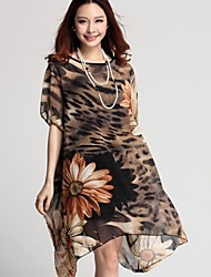 Women's Casual/Daily Loose Dress,Leopard Round Neck Above Knee Short Sleeve Brown / Gray Summer