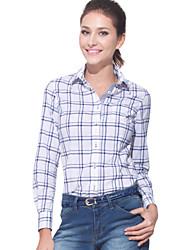 JAMES Fall Women's Cotton Long Sleeve Shirt/ Blouse with White-Blue Plaisd & Checks Casual Fashion