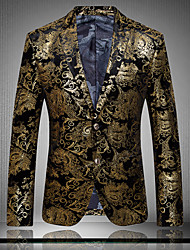 Men's Casual/Plus Sizes Print Long Sleeve Regular Blazer (Cotton/Polyester)
