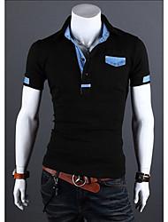 Men's Shirt Collar T-Shirts , Cotton Blend Short Sleeve Casual Hollow Out All Seasons HI MAN
