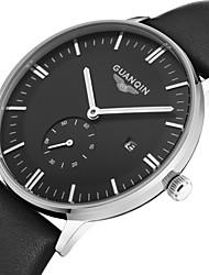 guanqin do vintage ultra-fino relógio de quartzo com pulseira de couro grande discagem