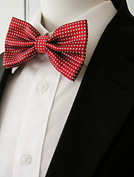 Men's Red White Dots Bow Tie Pre-tied Dress Wedding Blend Ajustable SilkBlend Wedding