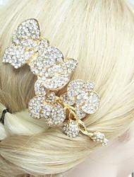 Wedding Gold-tone Clear Rhinestone Crystal Flower Hair Comb Bridal Headpiece Wedding Hair Comb