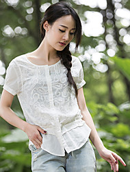 Women's Solid White Shirt , Round Neck Short Sleeve Button/Embroidery