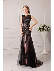 Formal Evening Dress A-line Jewel Court Train Tulle with Bandage