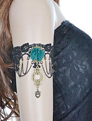 Vintage Lace Green Flower Heart Bracelet