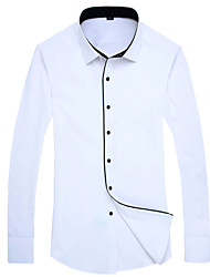 2015 Casual  Long Sleeve Turn-down Collar Solid Men Dress Shirt Contrast of Black and White  (AM702)
