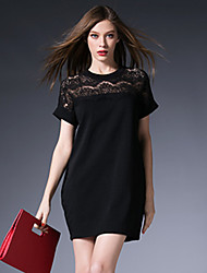 Women Clothing Sexy Hollow Out Lace Patchwork Loose Plus Size O-Neck Short Sleeve Casual Pocket Cheap Dress
