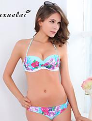 OUXL®Women's Padded Bras/Underwire Bra Color Block/Floral/Bandage/Geometric Bandeau Bikinis (Nylon/Polyester)