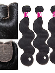 3 Bundles Brazilian Virgin Body Wave Human Hair Weave With Remy Silk Base J Part Lace Closure 3.5*4 Inch