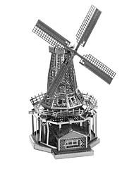 Creative 3D Laser Cute Models Metallic Dutch Windmill Nano Puzzle - Silver