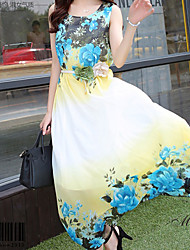 Women's Sexy/Maxi Micro-elastic Sleeveless Midi Dress (Chiffon)