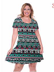 Women's Plus Size Dress Hot Sale Floral Dress Large Size Print Knee Dress Club Dress