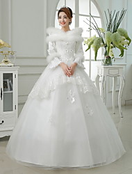 Ball Gown Floor-length Wedding Dress -Jewel Satin