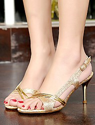 AmiGirl 2015 Hot Sale Women's Shoes Gold/Silver Stiletto Heel Sandals