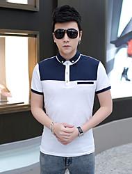 Men's Color Block Cotton Buttoned Polo Shirt
