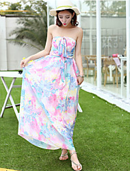 Women's Sexy/Beach/Casual/Print/Party/Maxi Sleeveless Maxi Sun Dress (Chiffon)
