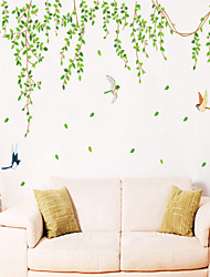 pared calcomanías pegatinas de pared, verde estilo hojas pegatinas de pared del pvc