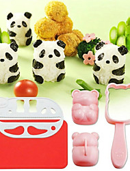 fácil diy forma 3d panda arroz molde sushi molde bola com soco nori