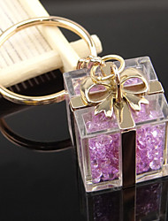 Gift Box Shaped Key Chain with Artificial Crystals Key Ring Bag Decoration